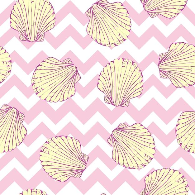 Sin patrón de conchas marinas Vector Premium