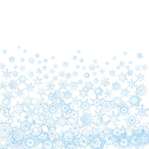 Patrón congelado con copos de nieve en blanco Vector Premium
