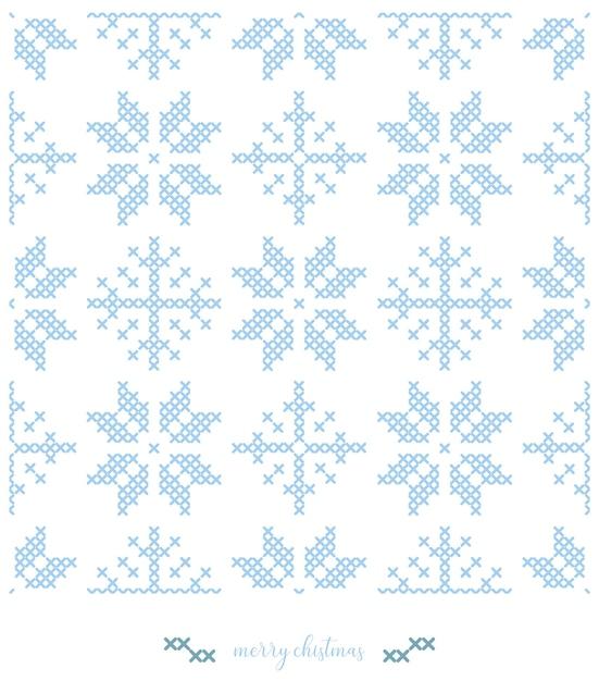 Patrón de copos de nieve de navidad. diseño de patrón de punto o bordado de punto de cruz. Vector Premium