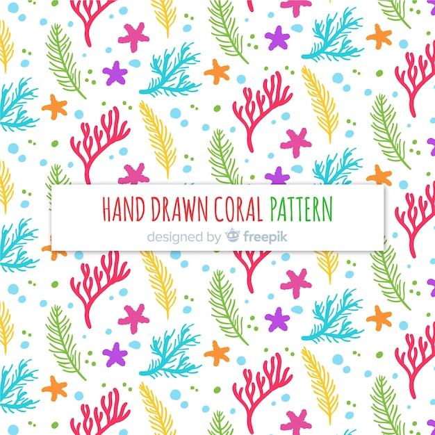 Patrón coral dibujado a mano vector gratuito