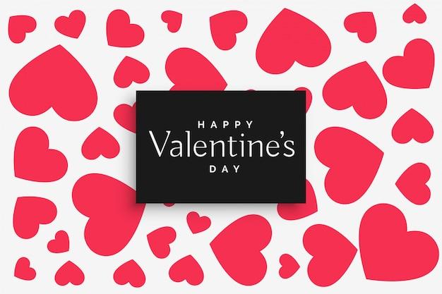 Patrón de corazones de color rosa para el día de san valentín vector gratuito