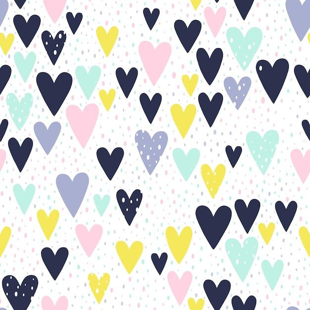 Patrón de corazones pintados a mano | Descargar Vectores Premium