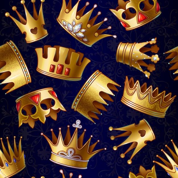Patrón de coronas reales de oro de dibujos animados vector gratuito