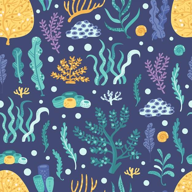 Patrón sin costuras con algas y corales. Vector Premium