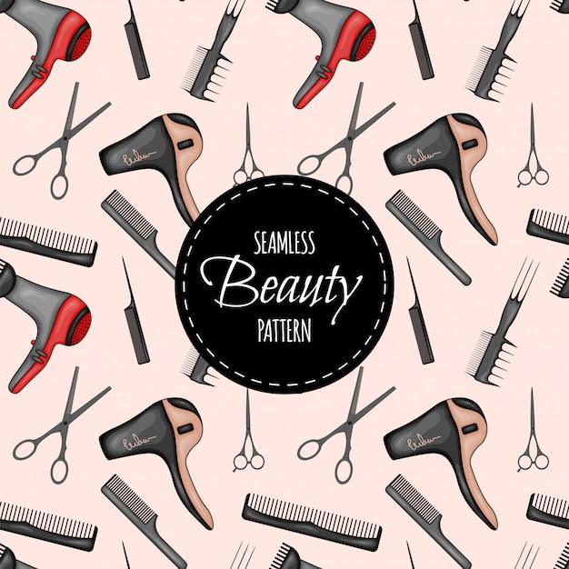 Patrón sin costuras de belleza con suministros de peluquería. estilo de dibujos animados Vector Premium