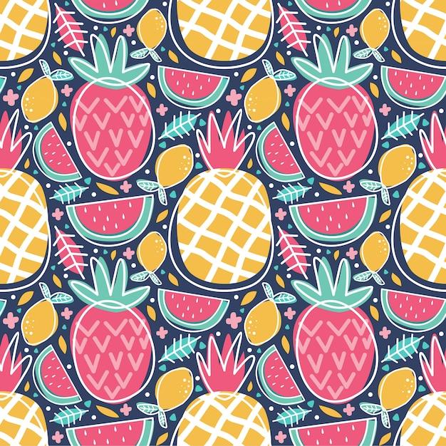 Patrón sin costuras coloridas frutas tropicales piña sandía limón doodle Vector Premium
