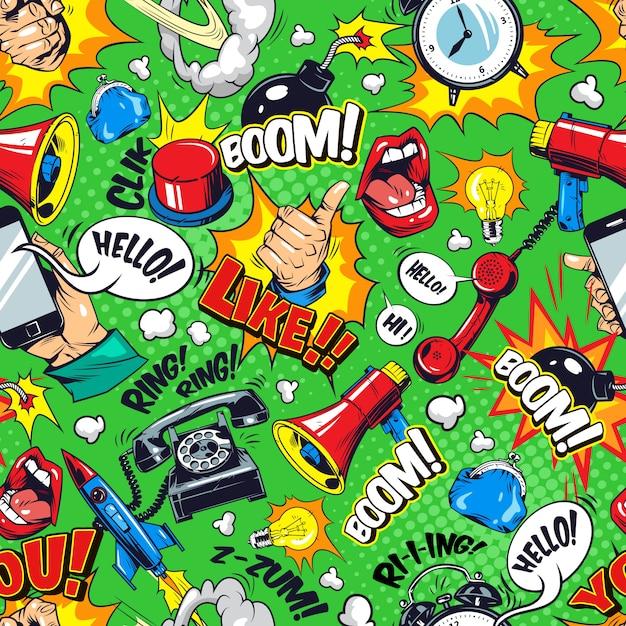 Patrón sin costuras coloridos elementos brillantes cómicos vector gratuito
