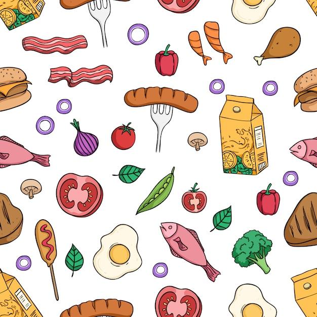 Patrón sin costuras de comida de desayuno saludable con estilo doodle color Vector Premium