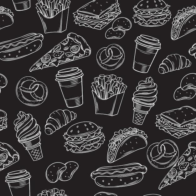Patrón sin costuras de comida rápida con Vector Premium