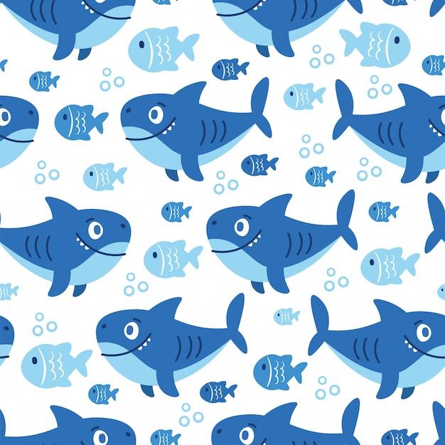 Patrón sin costuras de dibujos animados con animales marinos Vector Premium