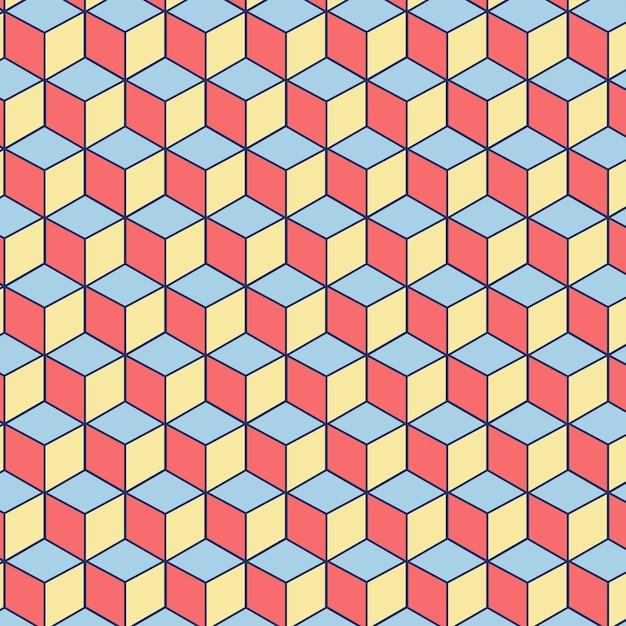 Patrón sin costuras editable de cuadrados rosados, azules y amarillos vector gratuito