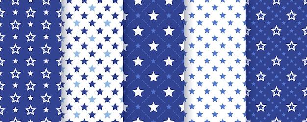 Patrón sin costuras estrella ilustración. textura geométrica azul marino. Vector Premium