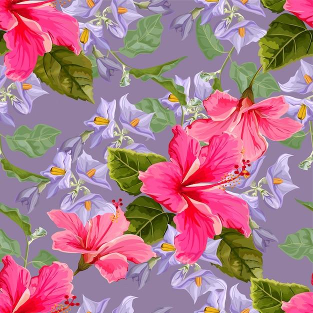 Patrón sin costuras de flor con flor de hibisco Vector Premium