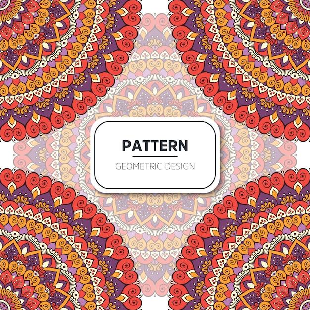 Patrón sin costuras floral étnico con mandalas vector gratuito