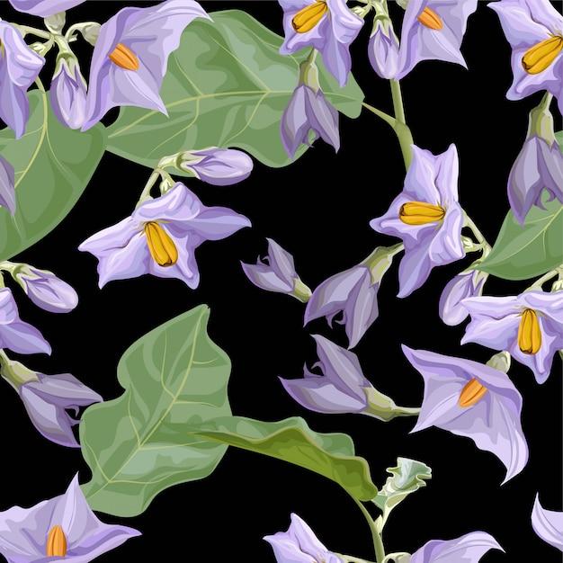 Patrón sin costuras de flores Vector Premium