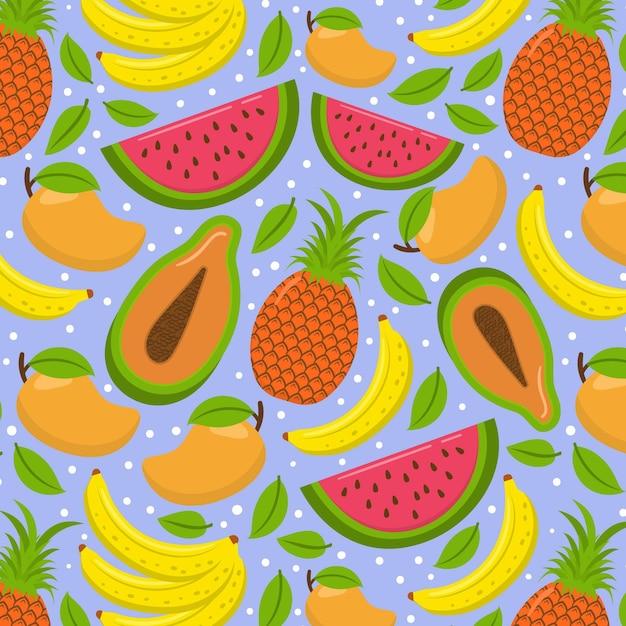 Patrón sin costuras de frutas exóticas de verano vector gratuito