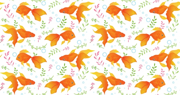Patrón sin costuras goldfish Vector Premium