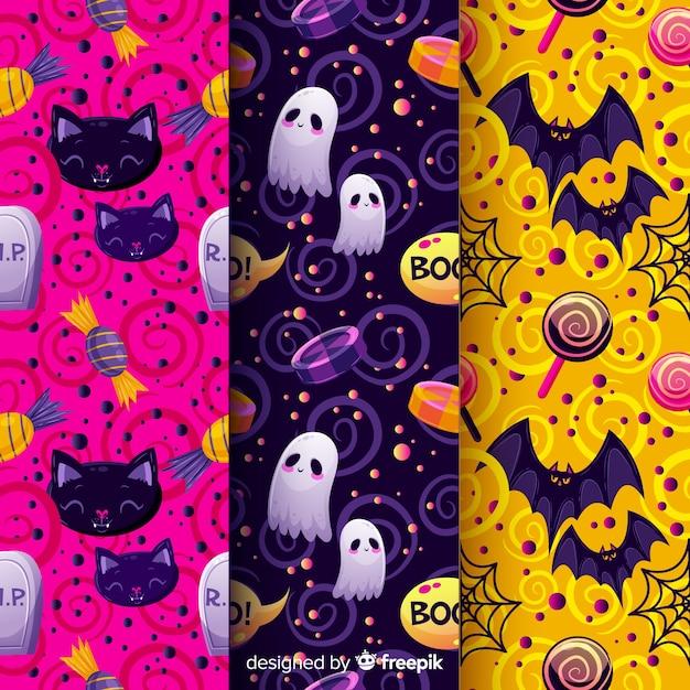 Patrón sin costuras de halloween con personajes festivos vector gratuito