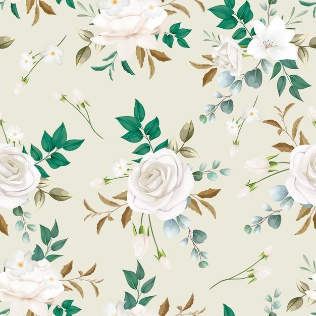 Patrón sin costuras hermosa flor blanca vector gratuito