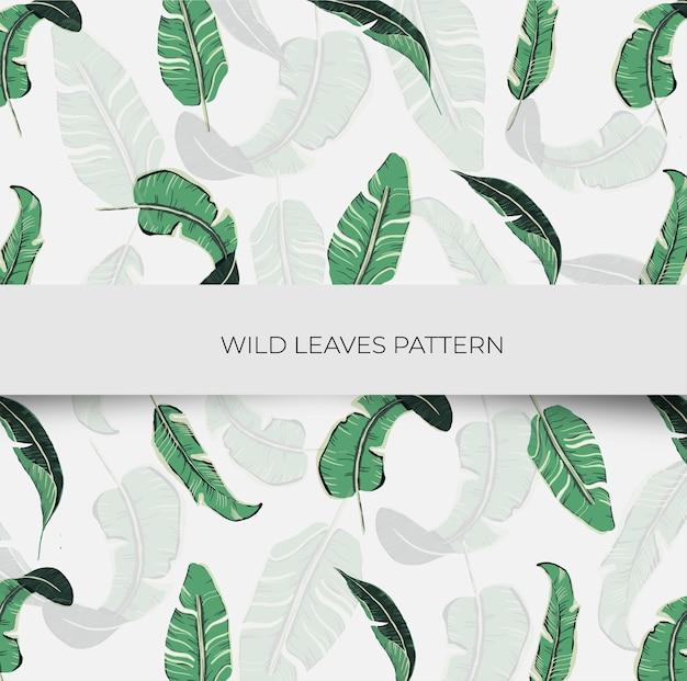 Patrón sin costuras de hojas silvestres vector gratuito