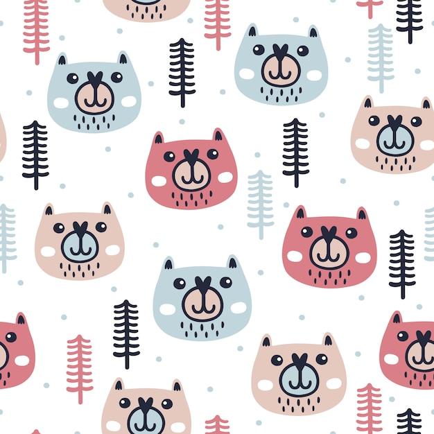 Patrón sin costuras de invierno con lindos osos | Descargar Vectores ...