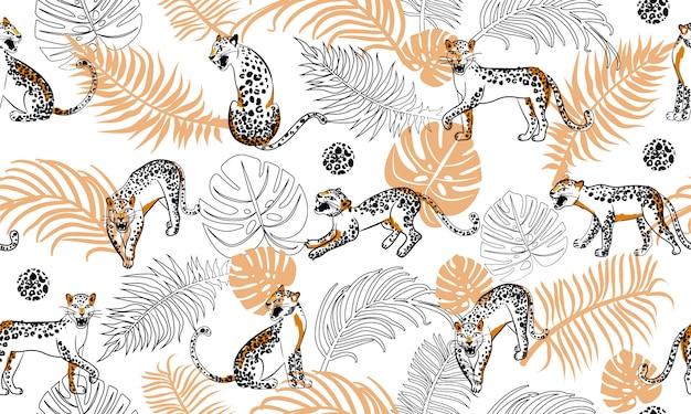 Patrón sin costuras de leopardo Vector Premium