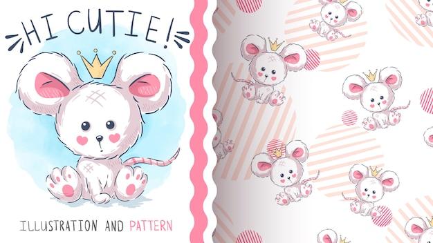 Patrón sin costuras linda princesa ratón Vector Premium