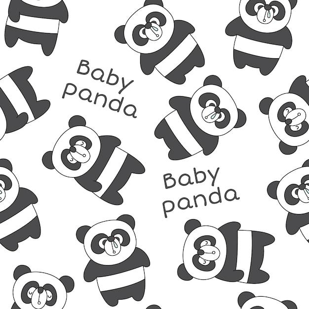 Patrón sin costuras lindo bebé panda | Descargar Vectores Premium