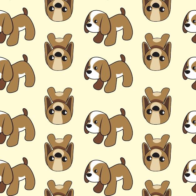 Patrón sin costuras lindo cachorro marrón   Descargar Vectores Premium