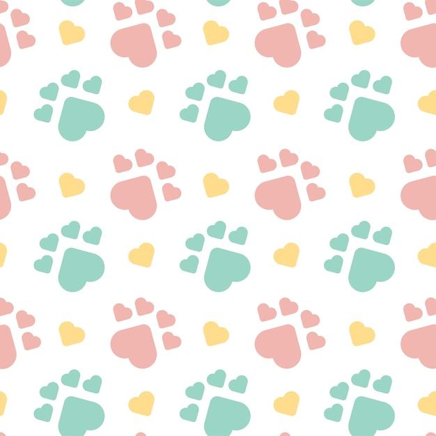 Patrón sin costuras lindo perro huella | Descargar Vectores Premium