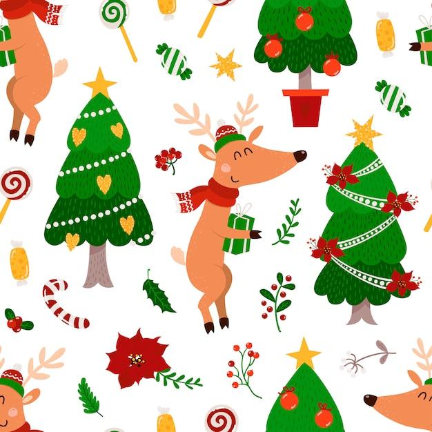 Patrón sin costuras de navidad con ciervos y árbol de navidad Vector Premium