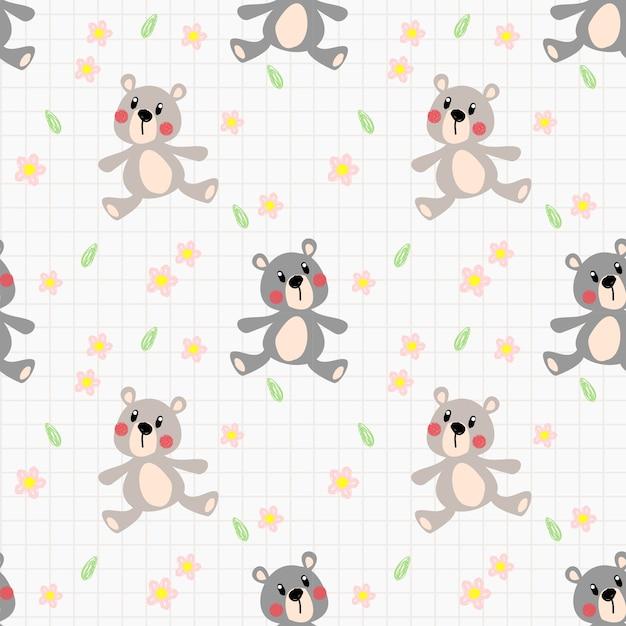 Patrón sin costuras de oso encantador | Descargar Vectores Premium