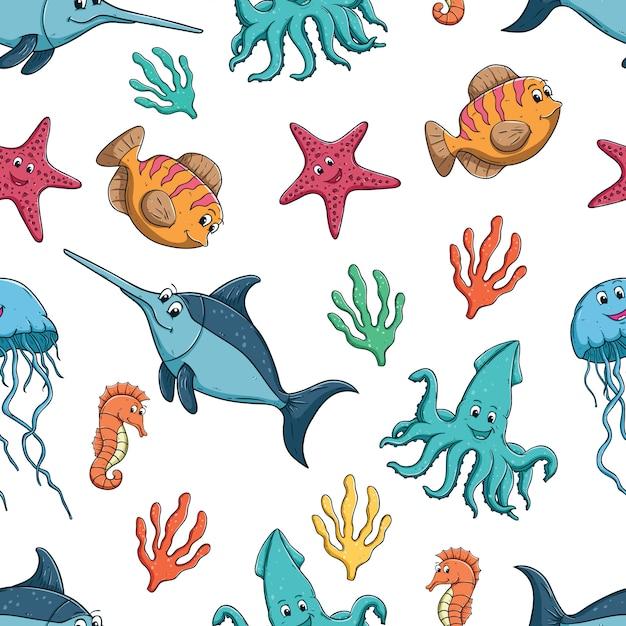 Patrón sin costuras de peces de colores lindos o animales marinos ...