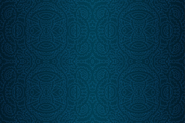 Patrón sin costuras punk vapor azul con engranajes Vector Premium