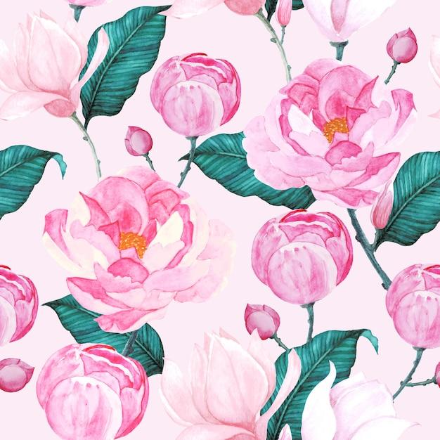 Patrón sin costuras rosas acuarela vector gratuito
