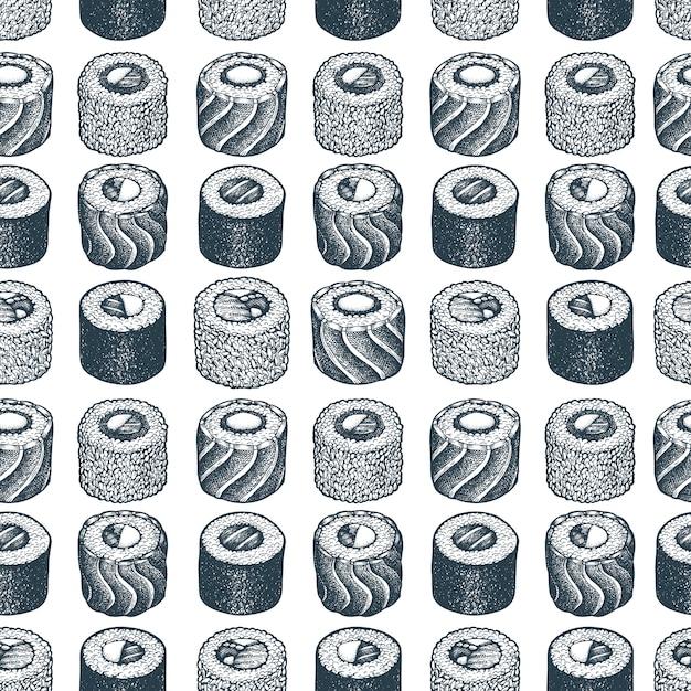 Patrón sin costuras sushi ilustraciones dibujadas a mano. Vector Premium