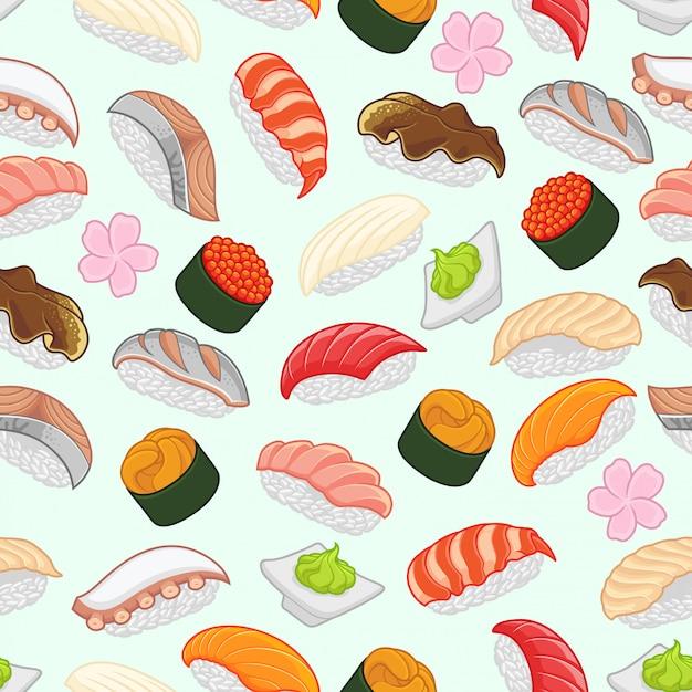Patrón sin costuras sushi Vector Premium