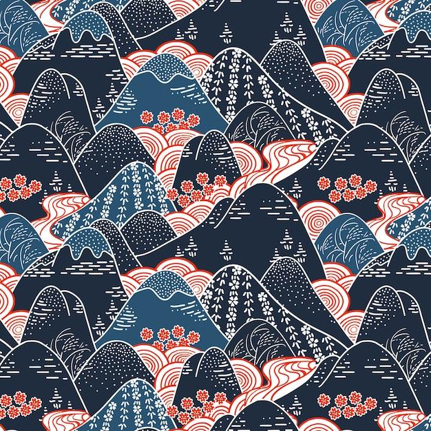 Patrón sin costuras de tela de kimono de montañas orientales Vector Premium