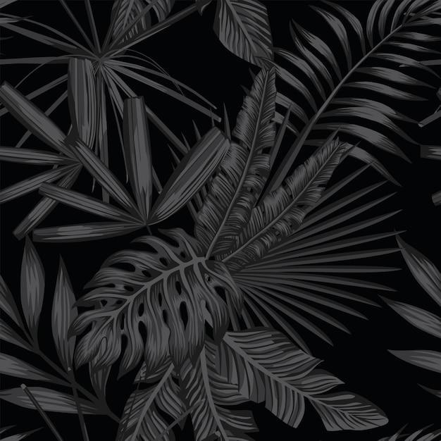 Patrón sin costuras tropical en estilo negro y gris Vector Premium