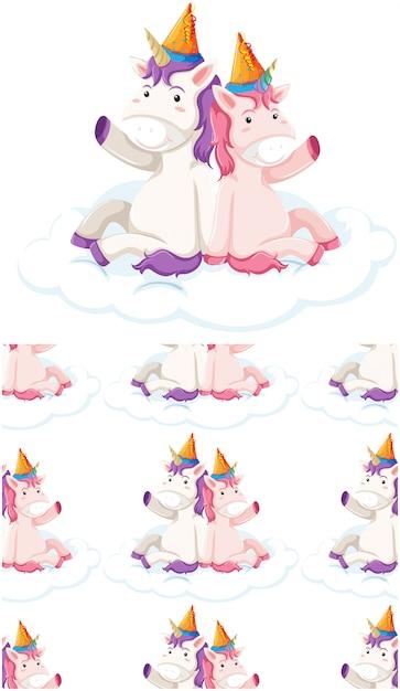 Patrón sin costuras unicornio aislado en blanco vector gratuito