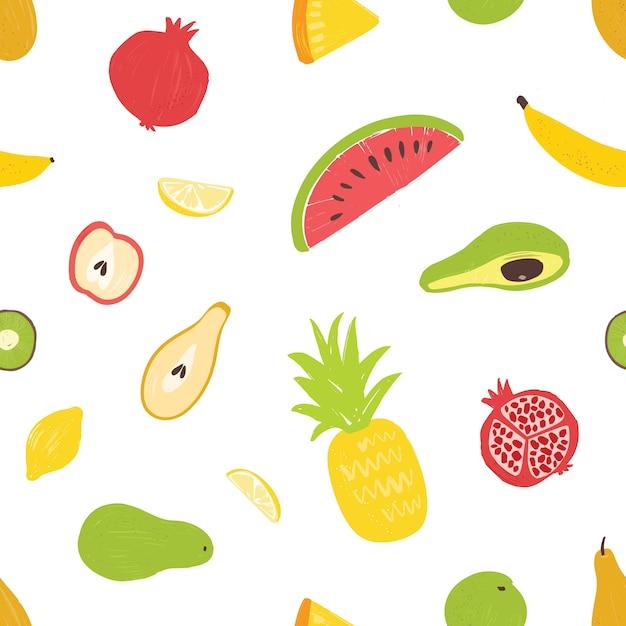 Patrón sin costuras de verano con exóticas frutas frescas y jugosas Vector Premium