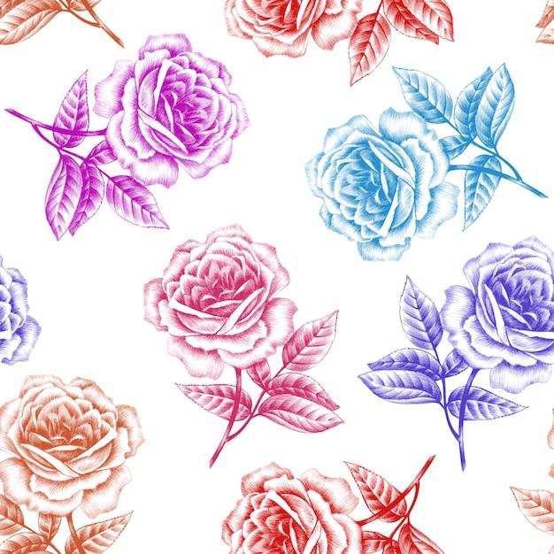 Patrón sin costuras vintage floral Vector Premium