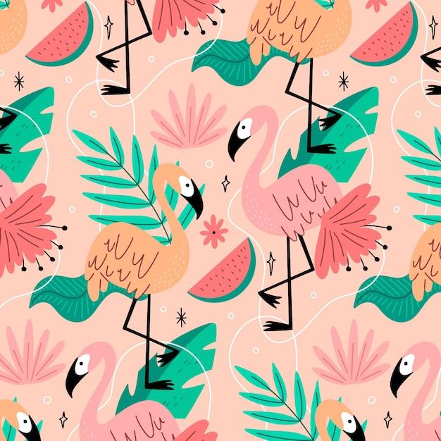 Patrón creativo de flamencos con hojas tropicales vector gratuito
