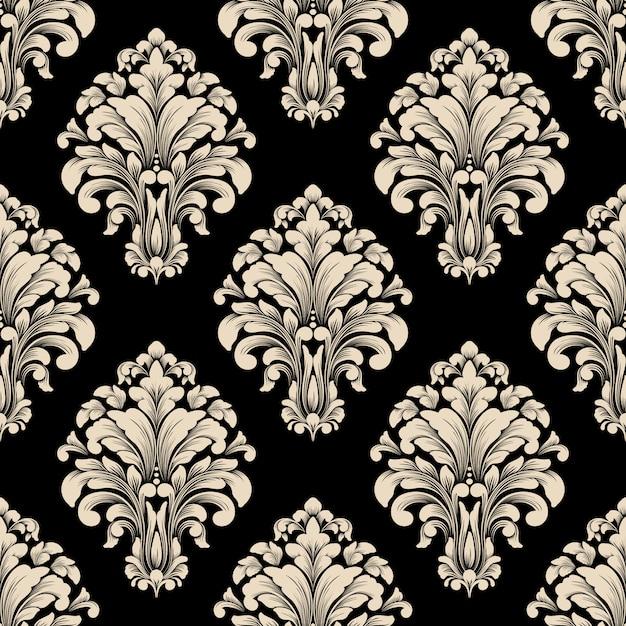 Patrón de damasco antiguo de lujo clásico vector gratuito