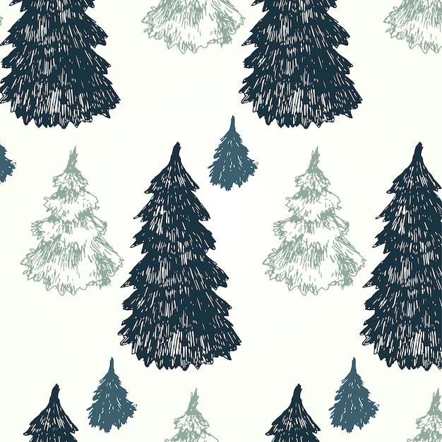 Patrón de árboles de pino Vector Gratis