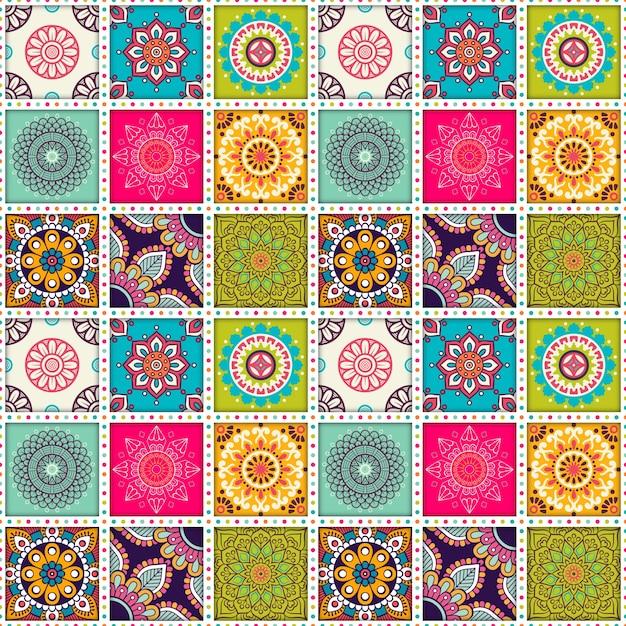 Patr n de baldosas marroqu s con mandalas descargar - Colores de baldosas ...