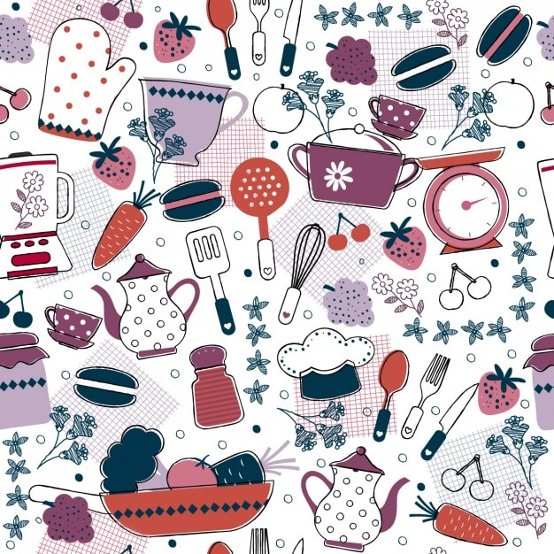 Patr n de cocina abstracto descargar vectores gratis for Utensilios de cocina fondo