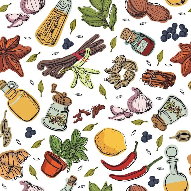 Patrón de cocina de especias Vector Gratis