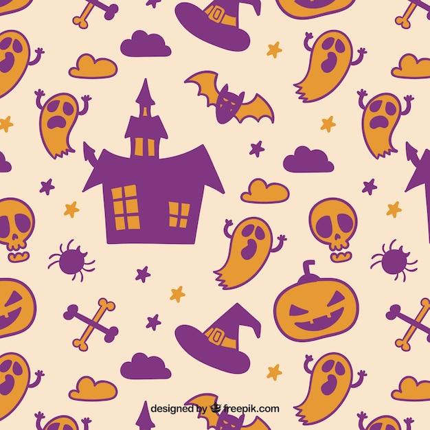 Patrón de halloween en color anaranjado y morado | Descargar ...