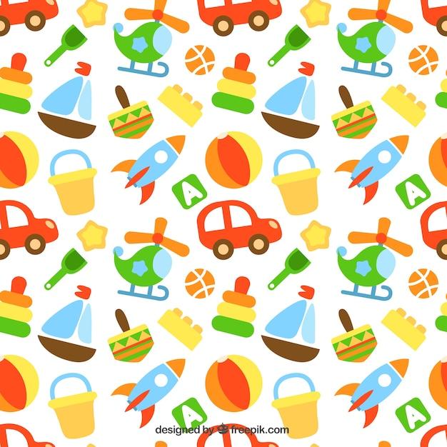Patrón de juguetes de colores | Descargar Vectores gratis
